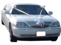 Cars for Stars (South London) - Wedding Limo. White Lincoln stretched wedding limousine with white ribbons